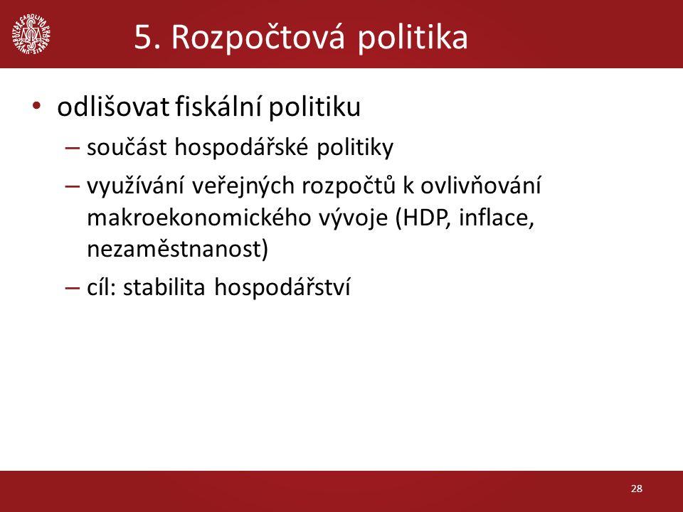 5. Rozpočtová politika odlišovat fiskální politiku – součást hospodářské politiky – využívání veřejných rozpočtů k ovlivňování makroekonomického vývoj