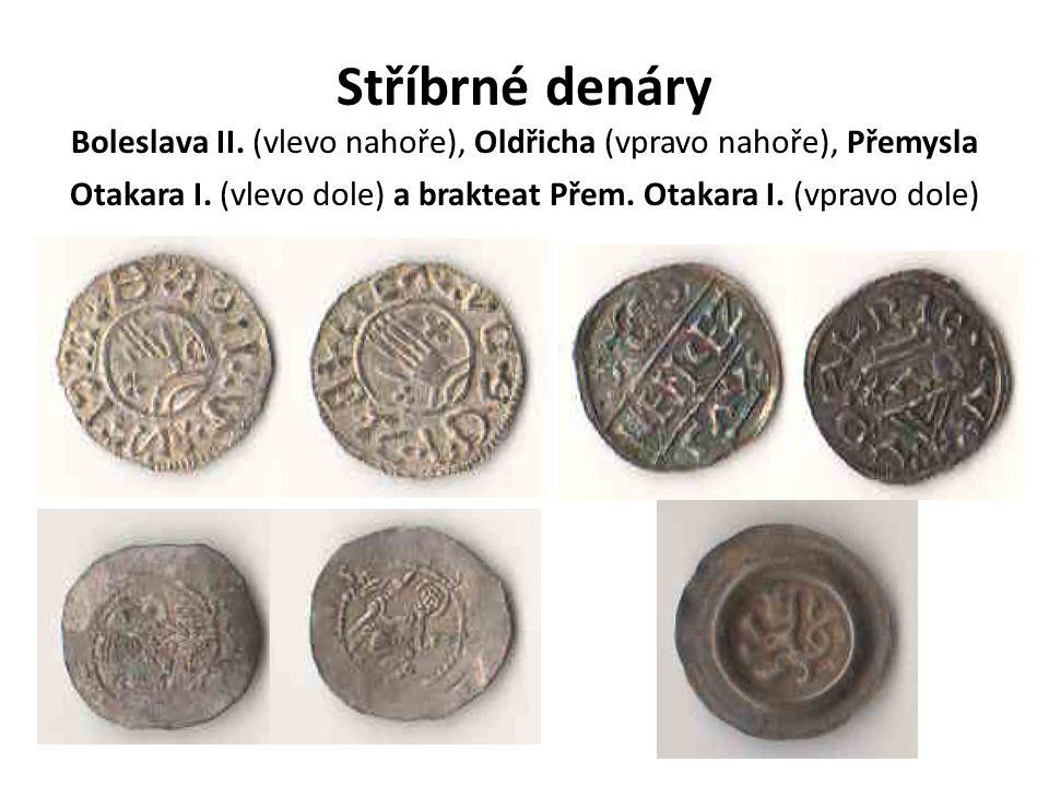 Stříbrné denáry Boleslava II. (vlevo nahoře), Oldřicha (vpravo nahoře), Přemysla Otakara I. (vlevo dole) a brakteat Přem. Otakara I. (vpravo dole)