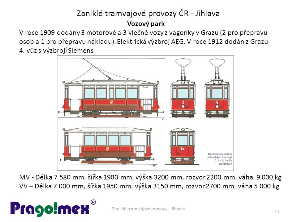 Zaniklé tramvajové provozy ČR - Jihlava Zaniklé tramvajové provozy – Jihlava 11 Vozový park V roce 1909 dodány 3 motorové a 3 vlečné vozy z vagonky v