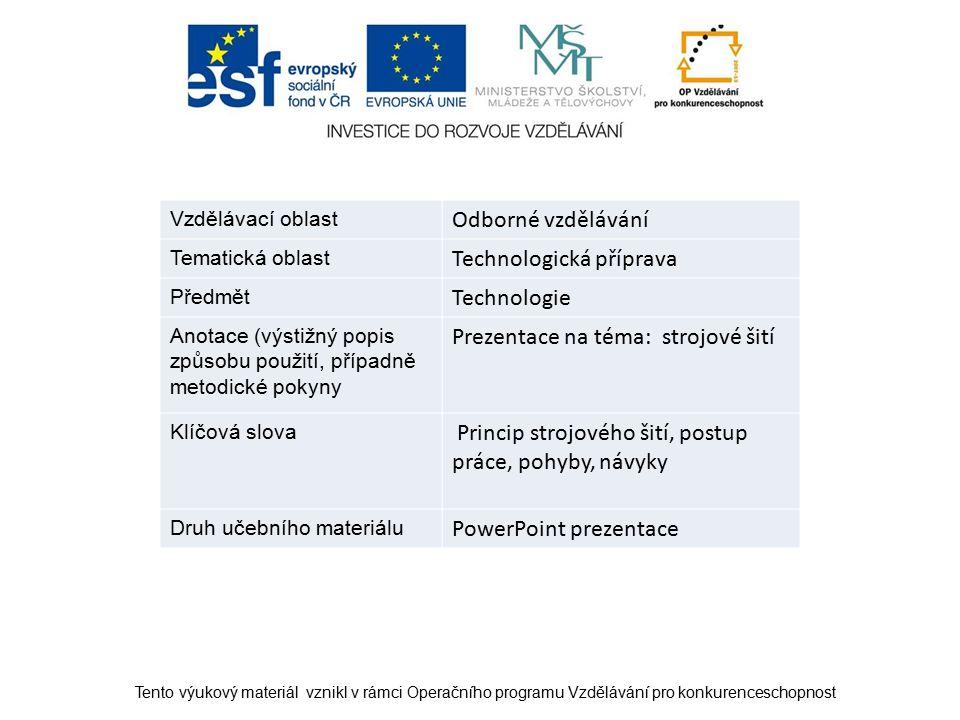 Vzdělávací oblast Odborné vzdělávání Tematická oblast Technologická příprava Předmět Technologie Anotace (výstižný popis způsobu použití, případně met