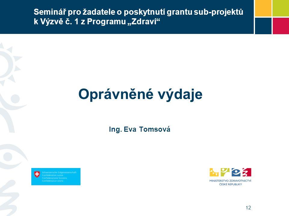 12 Seminář pro žadatele o poskytnutí grantu sub-projektů k Výzvě č.