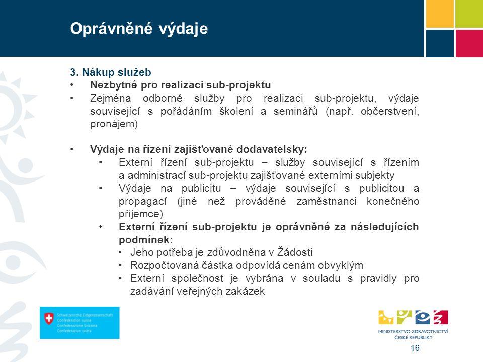 16 Oprávněné výdaje 3. Nákup služeb Nezbytné pro realizaci sub-projektu Zejména odborné služby pro realizaci sub-projektu, výdaje související s pořádá
