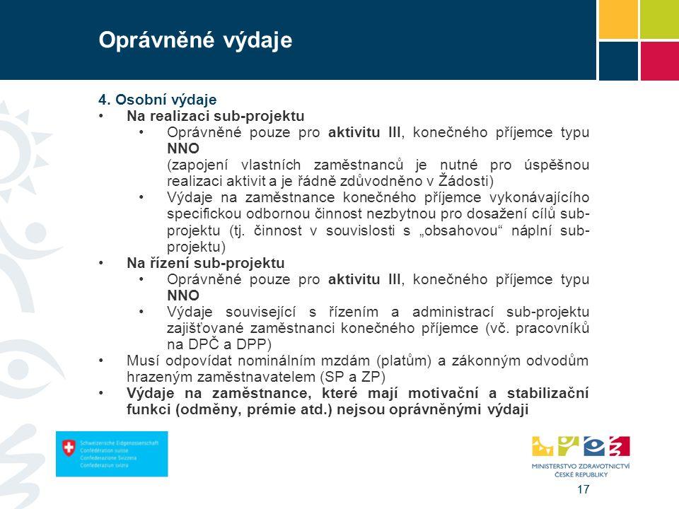 17 Oprávněné výdaje 4. Osobní výdaje Na realizaci sub-projektu Oprávněné pouze pro aktivitu III, konečného příjemce typu NNO (zapojení vlastních zaměs