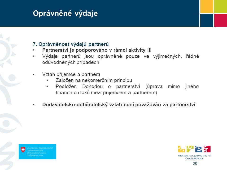 20 Oprávněné výdaje 7. Oprávněnost výdajů partnerů Partnerství je podporováno v rámci aktivity III Výdaje partnerů jsou oprávněné pouze ve výjimečných