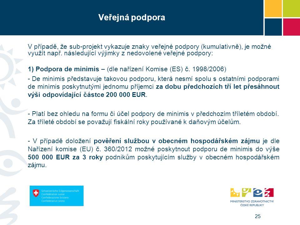 25 Veřejná podpora V případě, že sub-projekt vykazuje znaky veřejné podpory (kumulativně), je možné využít např. následující výjimky z nedovolené veře