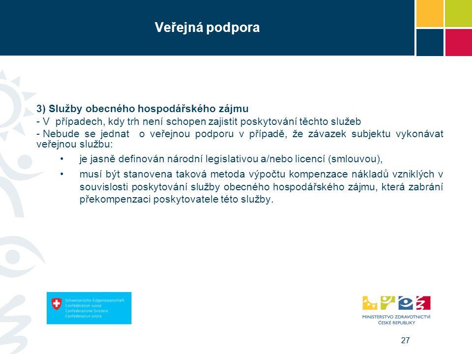 27 Veřejná podpora 3) Služby obecného hospodářského zájmu - V případech, kdy trh není schopen zajistit poskytování těchto služeb - Nebude se jednat o