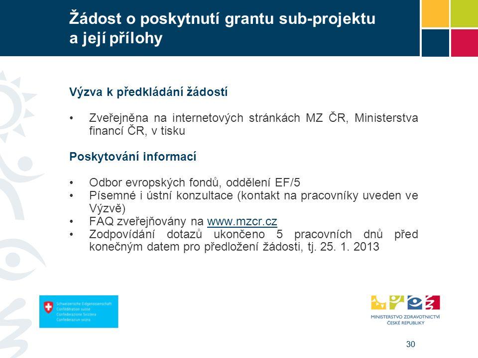 30 Žádost o poskytnutí grantu sub-projektu a její přílohy Výzva k předkládání žádostí Zveřejněna na internetových stránkách MZ ČR, Ministerstva financí ČR, v tisku Poskytování informací Odbor evropských fondů, oddělení EF/5 Písemné i ústní konzultace (kontakt na pracovníky uveden ve Výzvě) FAQ zveřejňovány na www.mzcr.czwww.mzcr.cz Zodpovídání dotazů ukončeno 5 pracovních dnů před konečným datem pro předložení žádosti, tj.