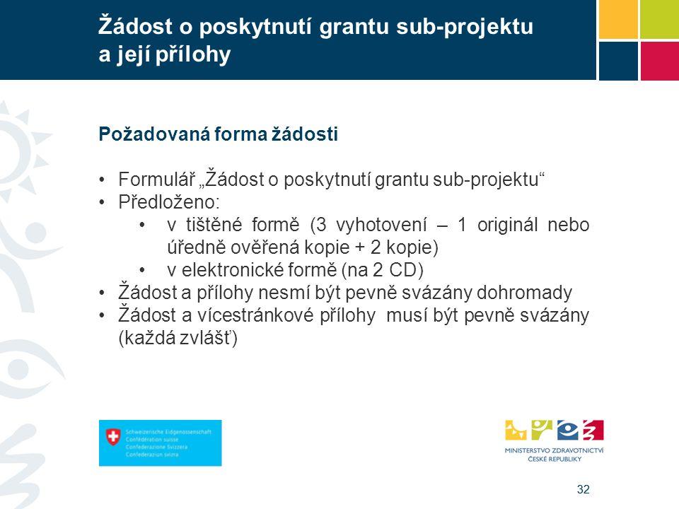 """32 Žádost o poskytnutí grantu sub-projektu a její přílohy Požadovaná forma žádosti Formulář """"Žádost o poskytnutí grantu sub-projektu Předloženo: v tištěné formě (3 vyhotovení – 1 originál nebo úředně ověřená kopie + 2 kopie) v elektronické formě (na 2 CD) Žádost a přílohy nesmí být pevně svázány dohromady Žádost a vícestránkové přílohy musí být pevně svázány (každá zvlášť)"""