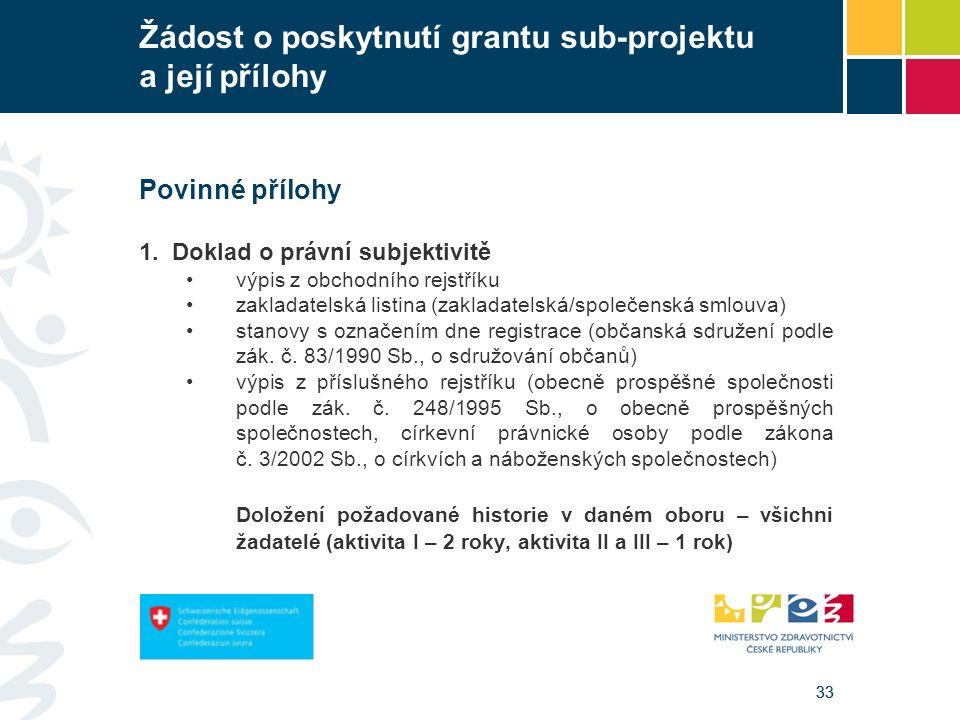 33 Žádost o poskytnutí grantu sub-projektu a její přílohy Povinné přílohy 1. Doklad o právní subjektivitě výpis z obchodního rejstříku zakladatelská l