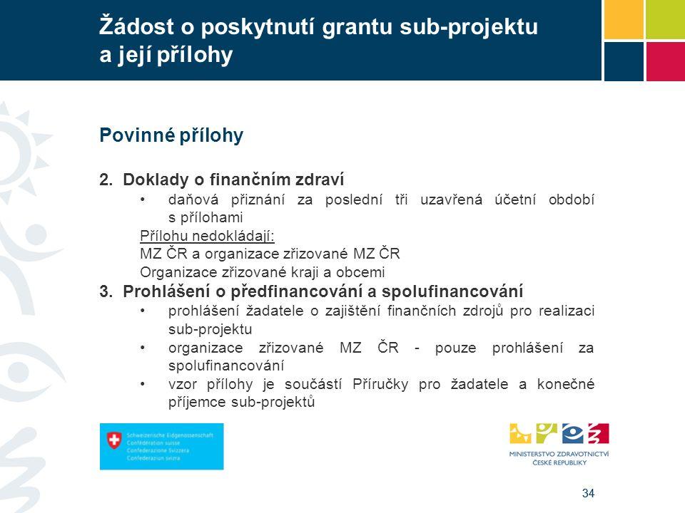 34 Žádost o poskytnutí grantu sub-projektu a její přílohy Povinné přílohy 2.