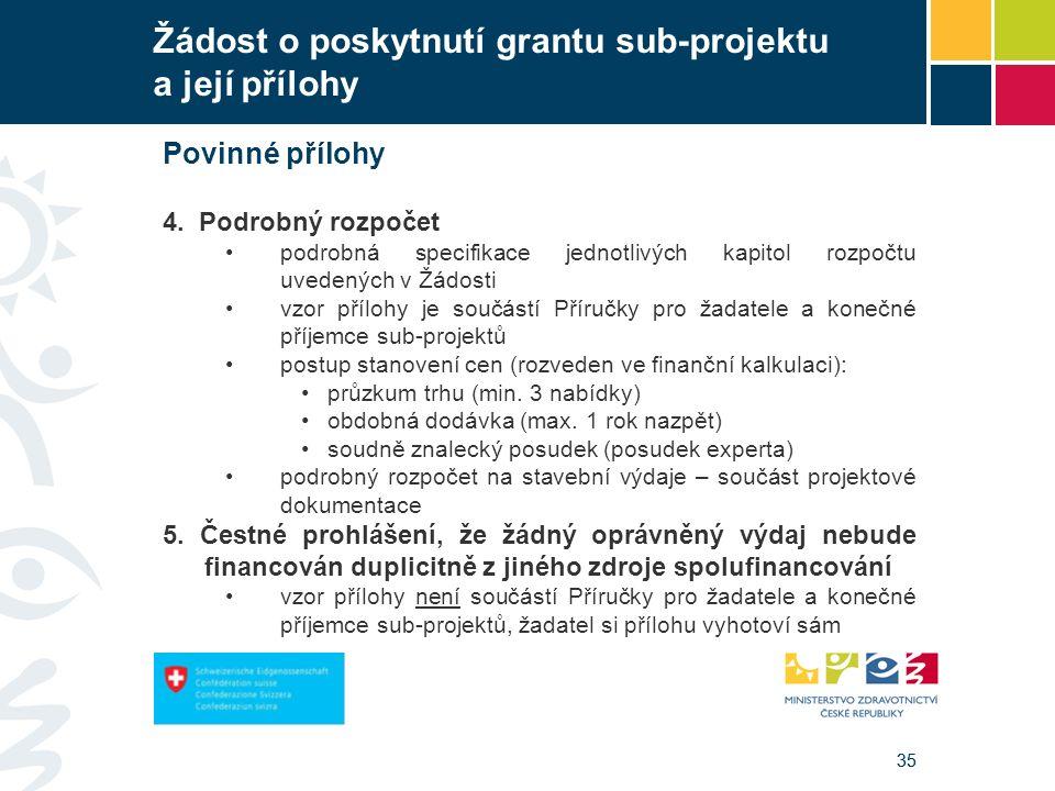 35 Žádost o poskytnutí grantu sub-projektu a její přílohy Povinné přílohy 4. Podrobný rozpočet podrobná specifikace jednotlivých kapitol rozpočtu uved