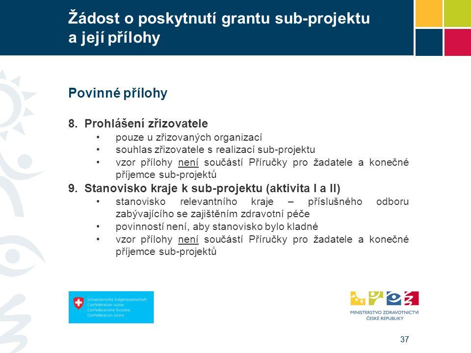 37 Žádost o poskytnutí grantu sub-projektu a její přílohy Povinné přílohy 8. Prohlášení zřizovatele pouze u zřizovaných organizací souhlas zřizovatele