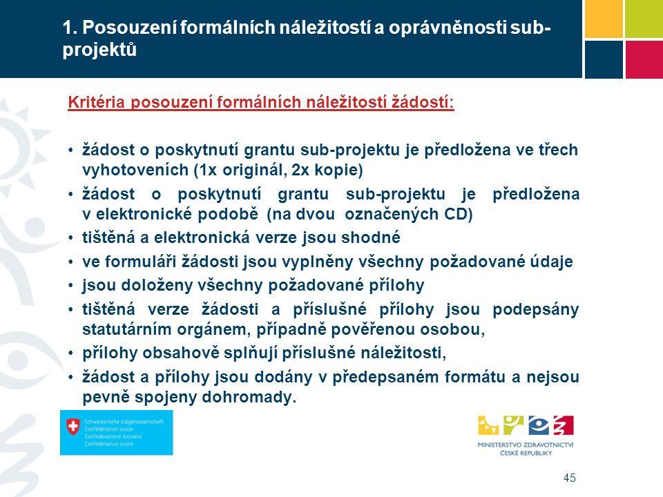 45 1. Posouzení formálních náležitostí a oprávněnosti sub- projektů Kritéria posouzení formálních náležitostí žádostí: žádost o poskytnutí grantu sub-