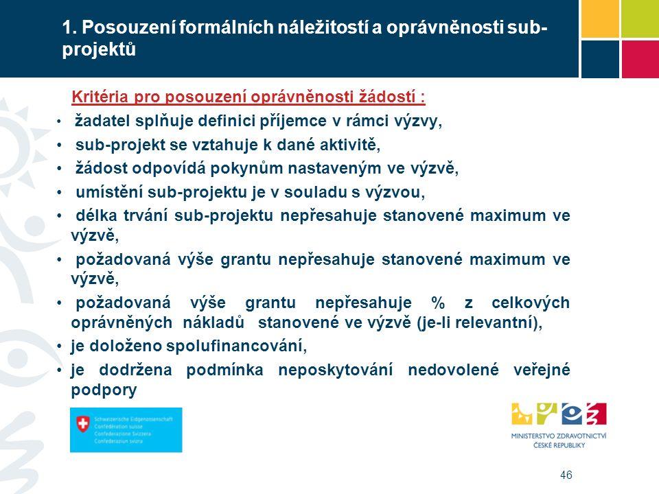 46 1. Posouzení formálních náležitostí a oprávněnosti sub- projektů Kritéria pro posouzení oprávněnosti žádostí : žadatel splňuje definici příjemce v