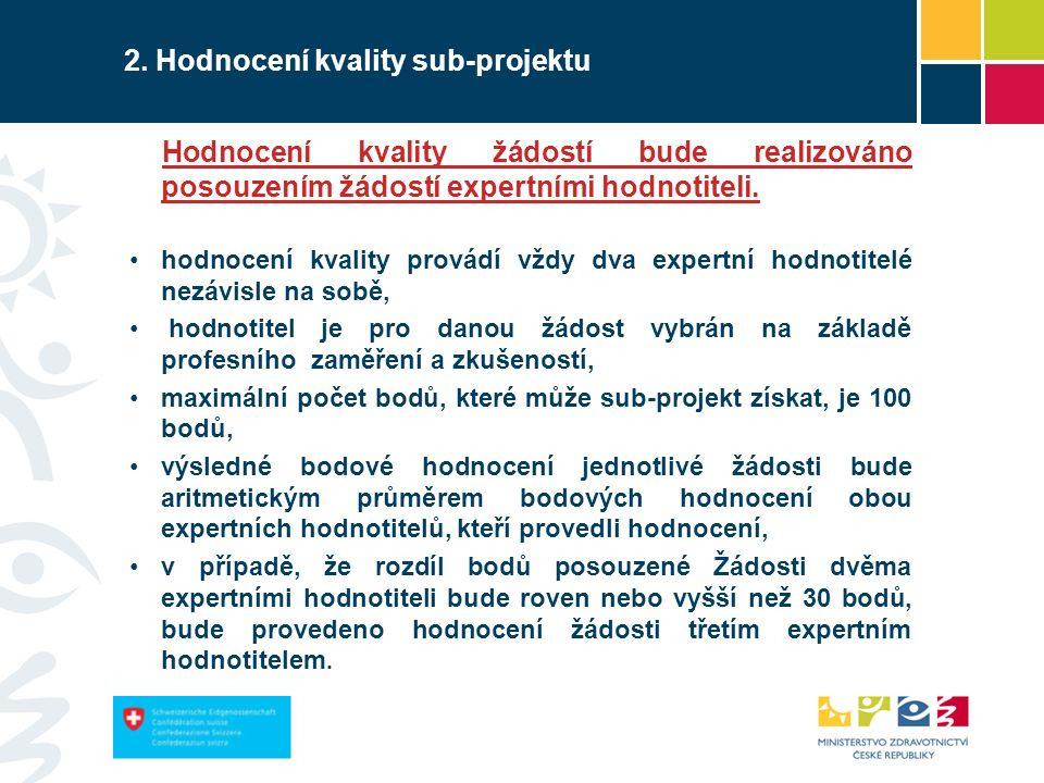 47 2. Hodnocení kvality sub-projektu Hodnocení kvality žádostí bude realizováno posouzením žádostí expertními hodnotiteli. hodnocení kvality provádí v