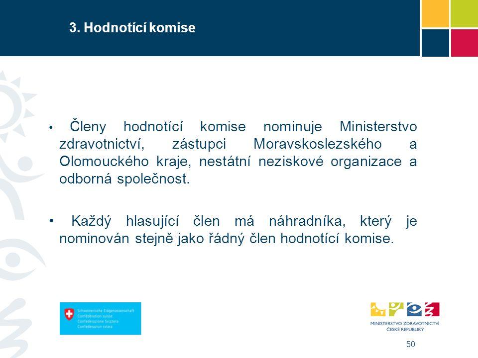 50 3. Hodnotící komise Členy hodnotící komise nominuje Ministerstvo zdravotnictví, zástupci Moravskoslezského a Olomouckého kraje, nestátní neziskové