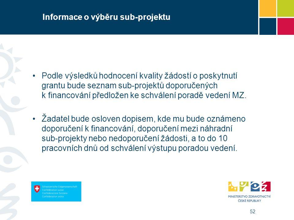 52 Informace o výběru sub-projektu Podle výsledků hodnocení kvality žádostí o poskytnutí grantu bude seznam sub-projektů doporučených k financování předložen ke schválení poradě vedení MZ.