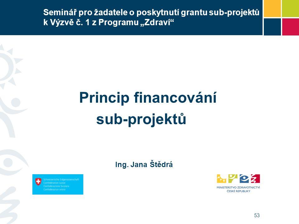 """53 Seminář pro žadatele o poskytnutí grantu sub-projektů k Výzvě č. 1 z Programu """"Zdraví"""" Princip financování sub-projektů Ing. Jana Štědrá"""