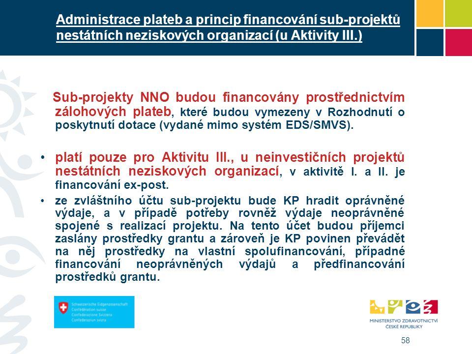 58 Administrace plateb a princip financování sub-projektů nestátních neziskových organizací (u Aktivity III.) Sub-projekty NNO budou financovány prost