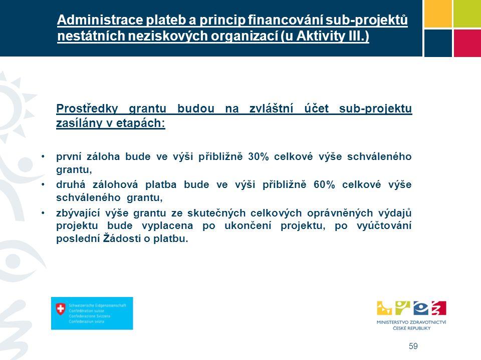 59 Administrace plateb a princip financování sub-projektů nestátních neziskových organizací (u Aktivity III.) Prostředky grantu budou na zvláštní účet