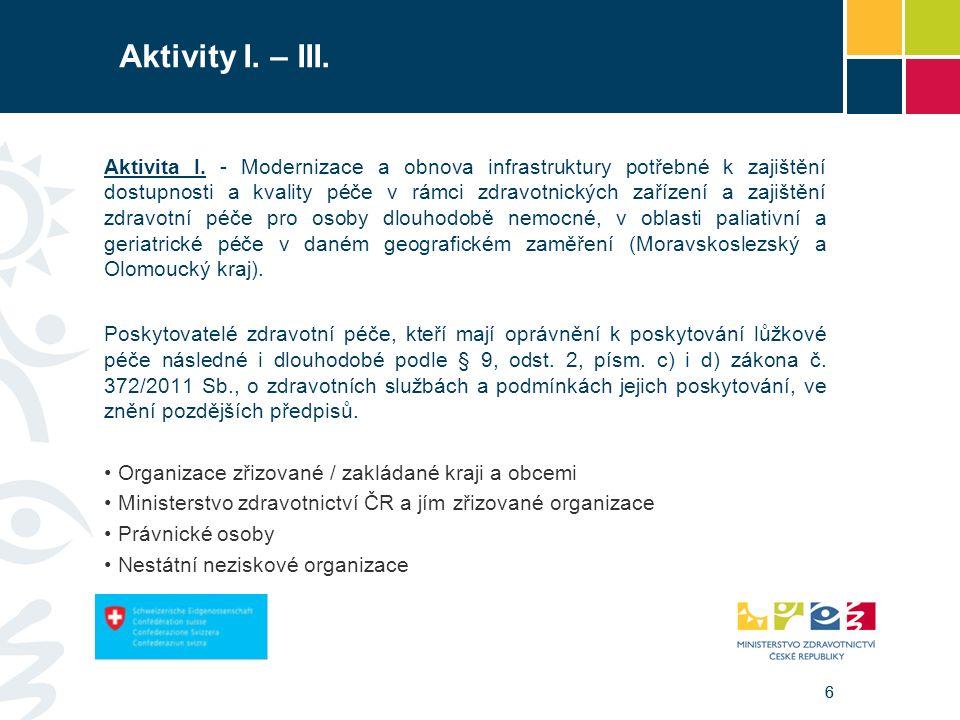 66 Aktivity I. – III. Aktivita I. - Modernizace a obnova infrastruktury potřebné k zajištění dostupnosti a kvality péče v rámci zdravotnických zařízen