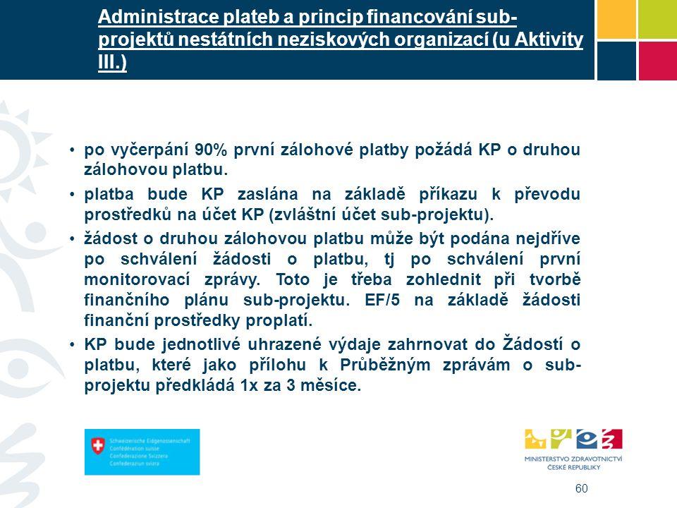 60 Administrace plateb a princip financování sub- projektů nestátních neziskových organizací (u Aktivity III.) po vyčerpání 90% první zálohové platby požádá KP o druhou zálohovou platbu.