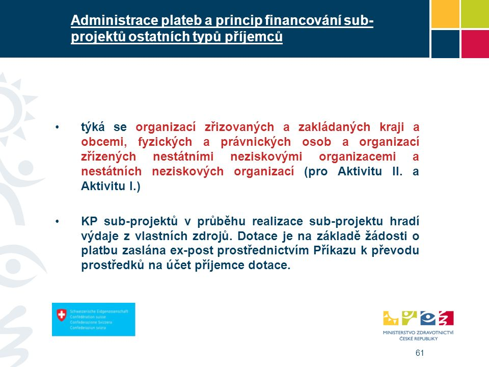 61 Administrace plateb a princip financování sub- projektů ostatních typů příjemců týká se organizací zřizovaných a zakládaných kraji a obcemi, fyzických a právnických osob a organizací zřízených nestátními neziskovými organizacemi a nestátních neziskových organizací (pro Aktivitu II.