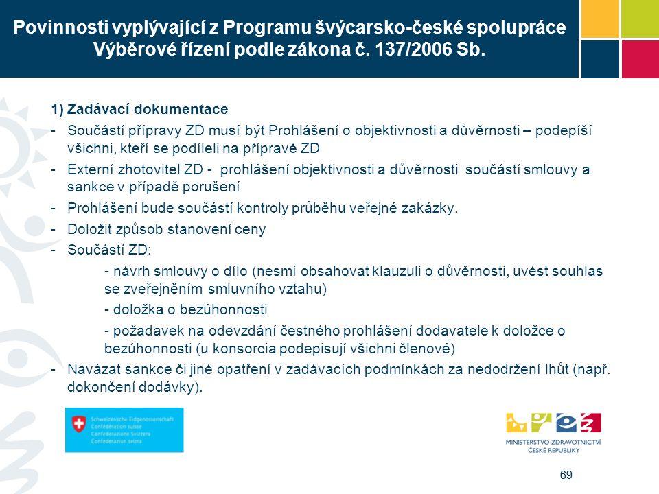 69 Povinnosti vyplývající z Programu švýcarsko-české spolupráce Výběrové řízení podle zákona č. 137/2006 Sb. 1)Zadávací dokumentace -Součástí přípravy