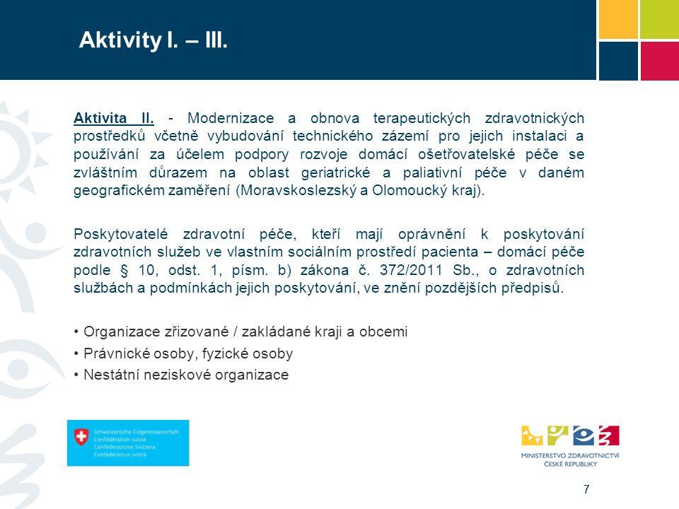 77 Aktivity I. – III. Aktivita II. - Modernizace a obnova terapeutických zdravotnických prostředků včetně vybudování technického zázemí pro jejich ins