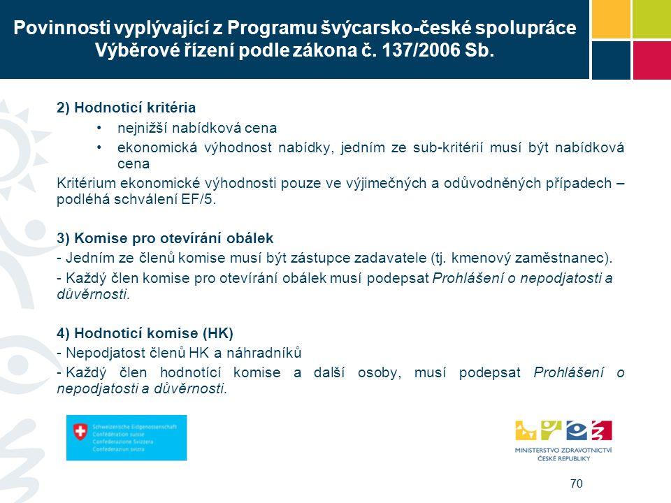 70 Povinnosti vyplývající z Programu švýcarsko-české spolupráce Výběrové řízení podle zákona č. 137/2006 Sb. 2) Hodnoticí kritéria nejnižší nabídková