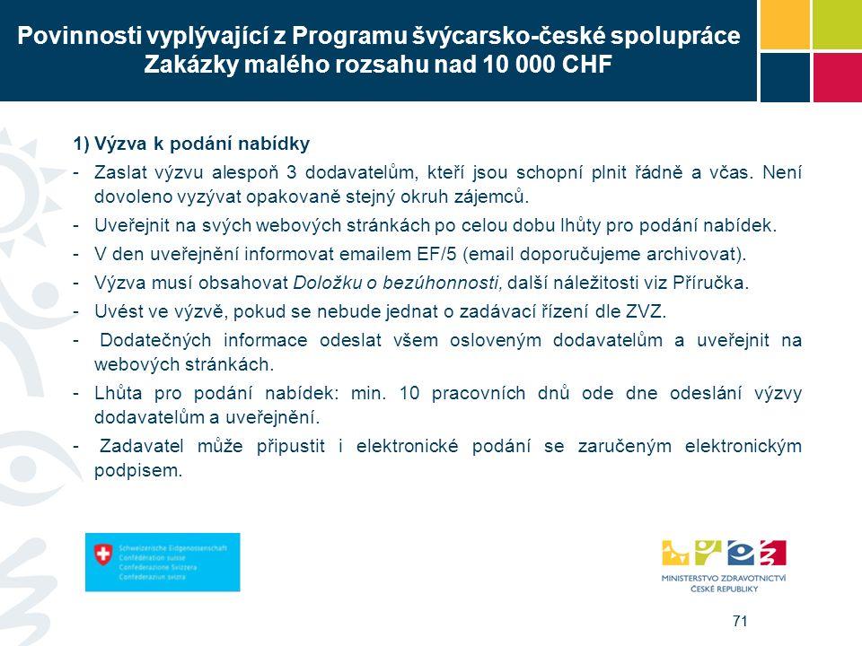 71 Povinnosti vyplývající z Programu švýcarsko-české spolupráce Zakázky malého rozsahu nad 10 000 CHF 1)Výzva k podání nabídky -Zaslat výzvu alespoň 3 dodavatelům, kteří jsou schopní plnit řádně a včas.