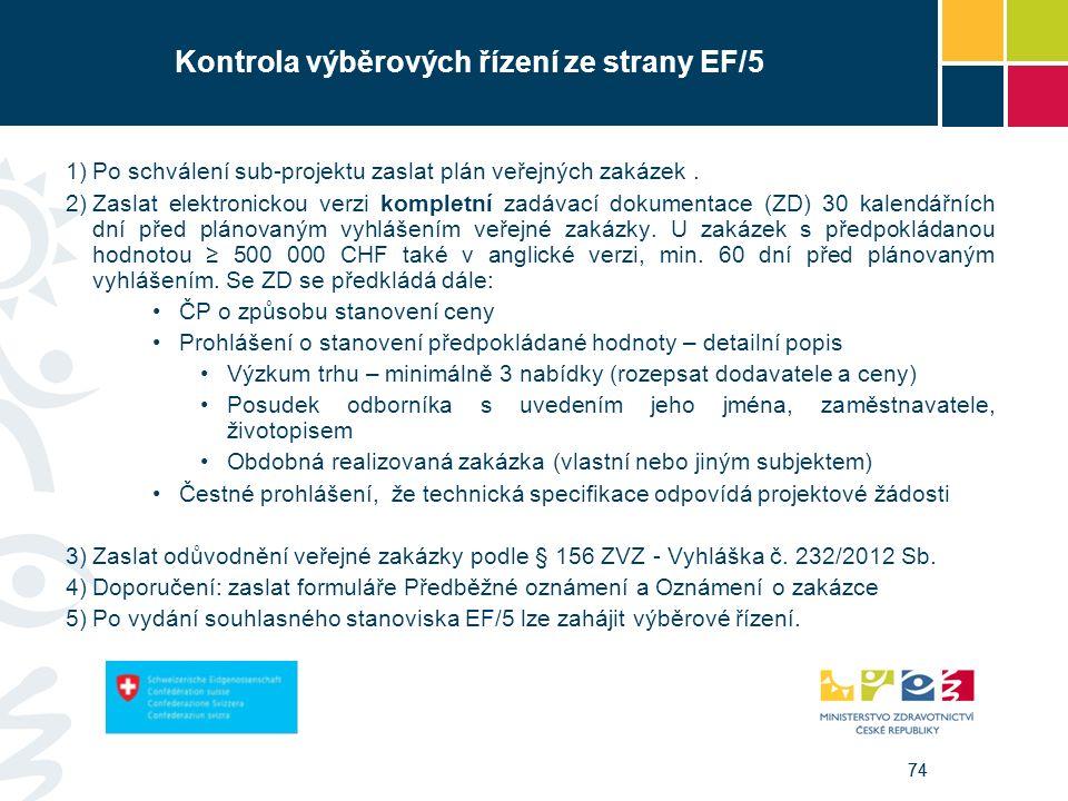 74 Kontrola výběrových řízení ze strany EF/5 1)Po schválení sub-projektu zaslat plán veřejných zakázek. 2)Zaslat elektronickou verzi kompletní zadávac
