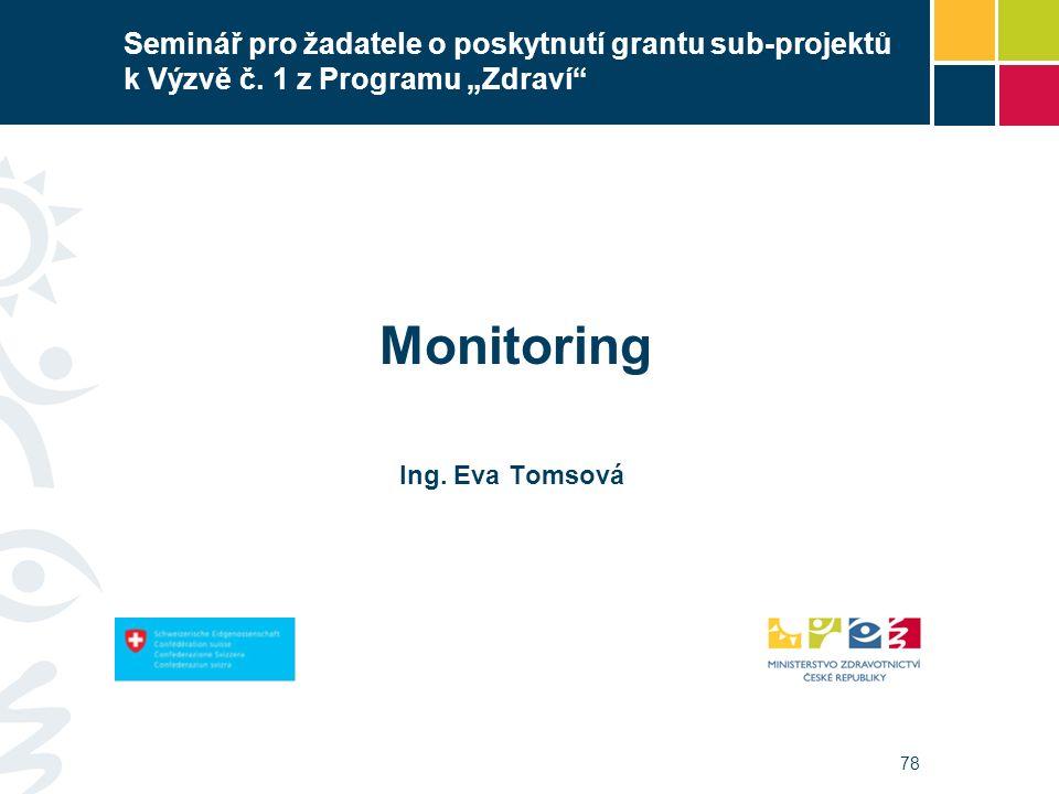 """78 Seminář pro žadatele o poskytnutí grantu sub-projektů k Výzvě č. 1 z Programu """"Zdraví"""" Monitoring Ing. Eva Tomsová"""