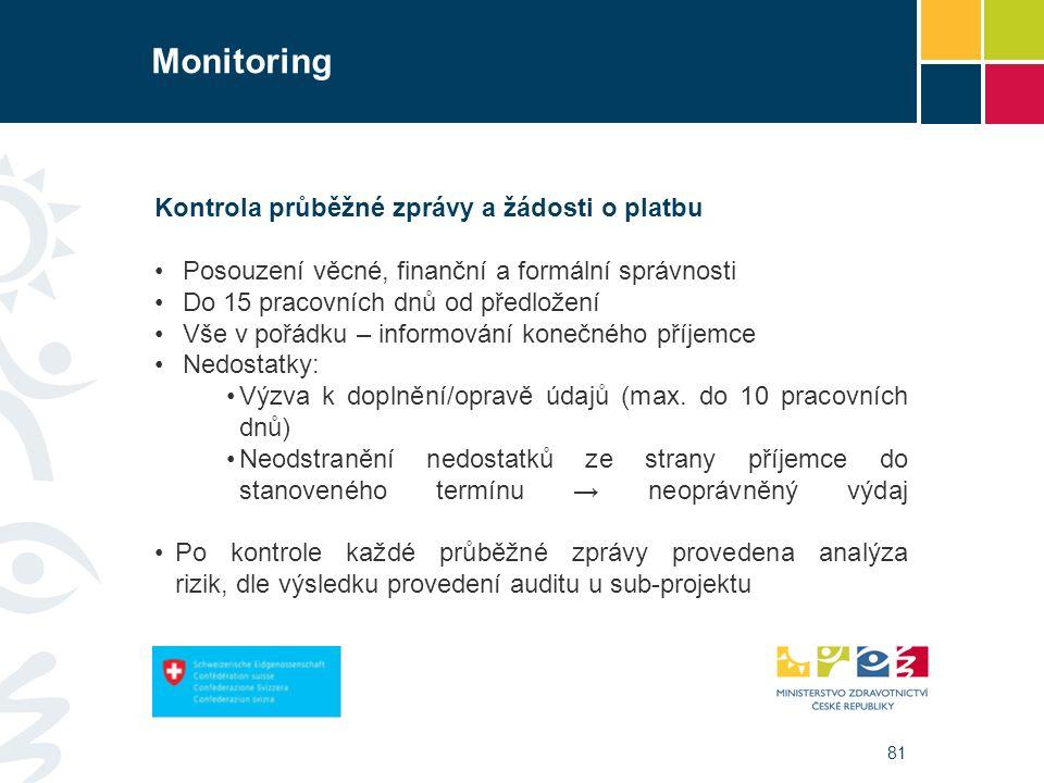 81 Monitoring Kontrola průběžné zprávy a žádosti o platbu Posouzení věcné, finanční a formální správnosti Do 15 pracovních dnů od předložení Vše v pořádku – informování konečného příjemce Nedostatky: Výzva k doplnění/opravě údajů (max.