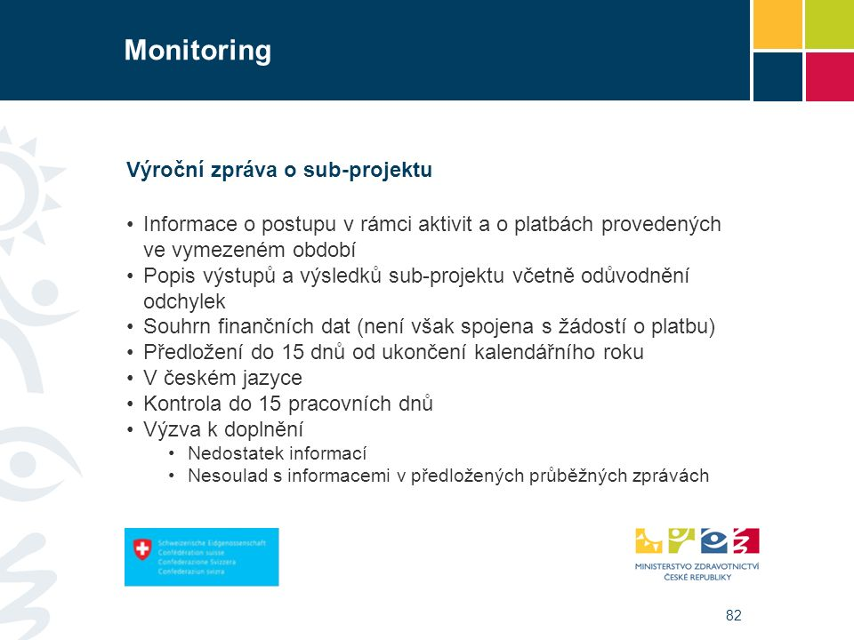82 Monitoring Výroční zpráva o sub-projektu Informace o postupu v rámci aktivit a o platbách provedených ve vymezeném období Popis výstupů a výsledků sub-projektu včetně odůvodnění odchylek Souhrn finančních dat (není však spojena s žádostí o platbu) Předložení do 15 dnů od ukončení kalendářního roku V českém jazyce Kontrola do 15 pracovních dnů Výzva k doplnění Nedostatek informací Nesoulad s informacemi v předložených průběžných zprávách