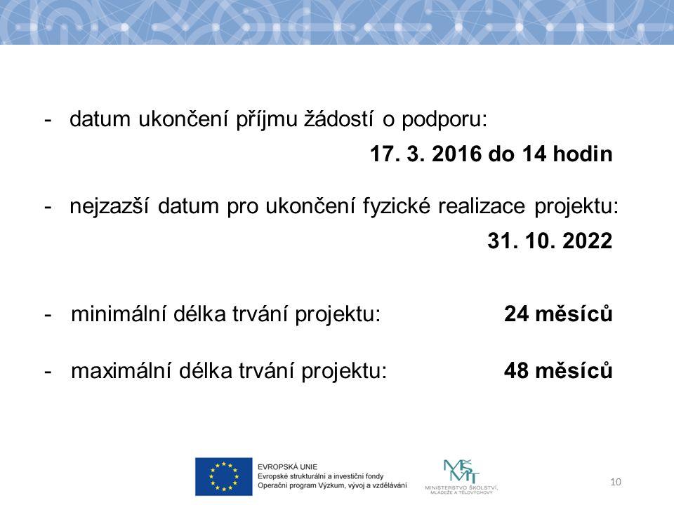 -datum ukončení příjmu žádostí o podporu: 17. 3.