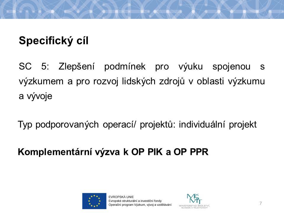 SC 5: Zlepšení podmínek pro výuku spojenou s výzkumem a pro rozvoj lidských zdrojů v oblasti výzkumu a vývoje 7 Specifický cíl Typ podporovaných operací/ projektů: individuální projekt Komplementární výzva k OP PIK a OP PPR