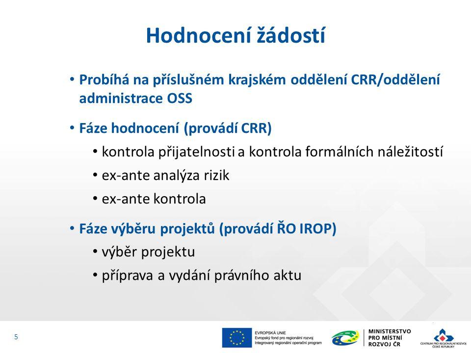 Probíhá na příslušném krajském oddělení CRR/oddělení administrace OSS Fáze hodnocení (provádí CRR) kontrola přijatelnosti a kontrola formálních náležitostí ex-ante analýza rizik ex-ante kontrola Fáze výběru projektů (provádí ŘO IROP) výběr projektu příprava a vydání právního aktu Hodnocení žádostí 5