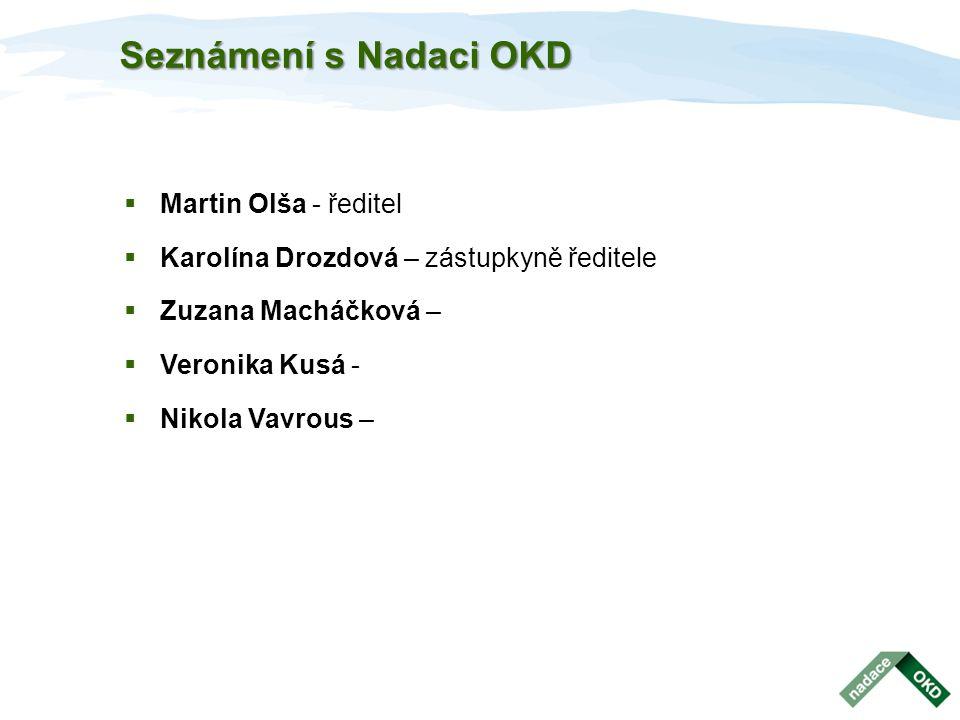 Seznámení s Nadaci OKD  Martin Olša - ředitel  Karolína Drozdová – zástupkyně ředitele  Zuzana Macháčková –  Veronika Kusá -  Nikola Vavrous –