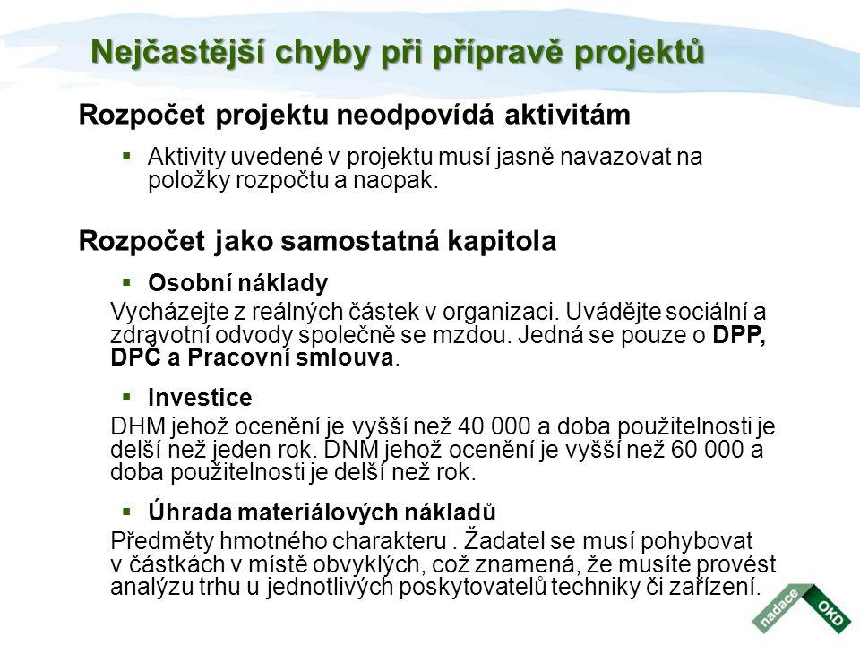 Nejčastější chyby při přípravě projektů Rozpočet projektu neodpovídá aktivitám  Aktivity uvedené v projektu musí jasně navazovat na položky rozpočtu