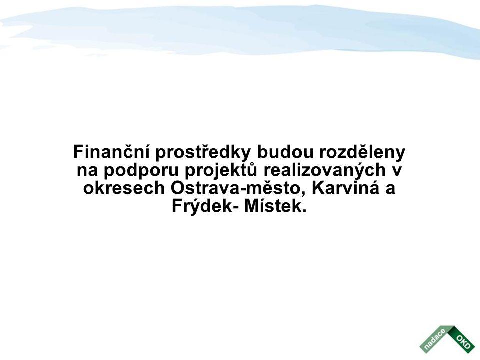 Finanční prostředky budou rozděleny na podporu projektů realizovaných v okresech Ostrava-město, Karviná a Frýdek- Místek.
