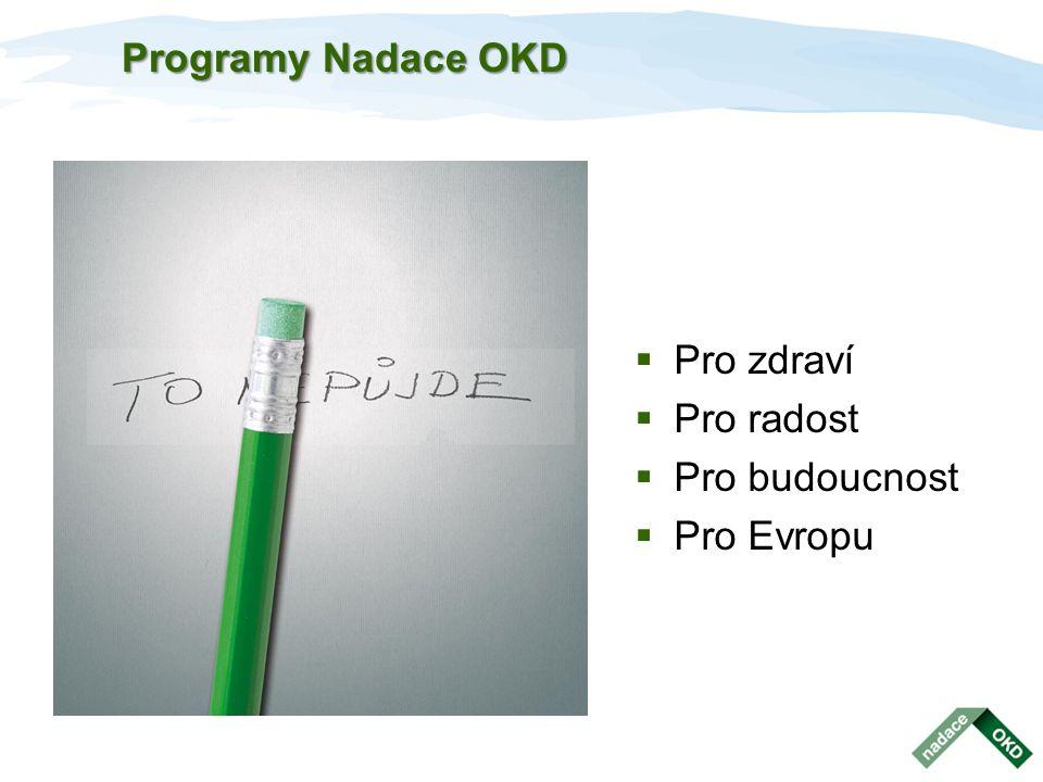 Programy Nadace OKD  Pro zdraví  Pro radost  Pro budoucnost  Pro Evropu