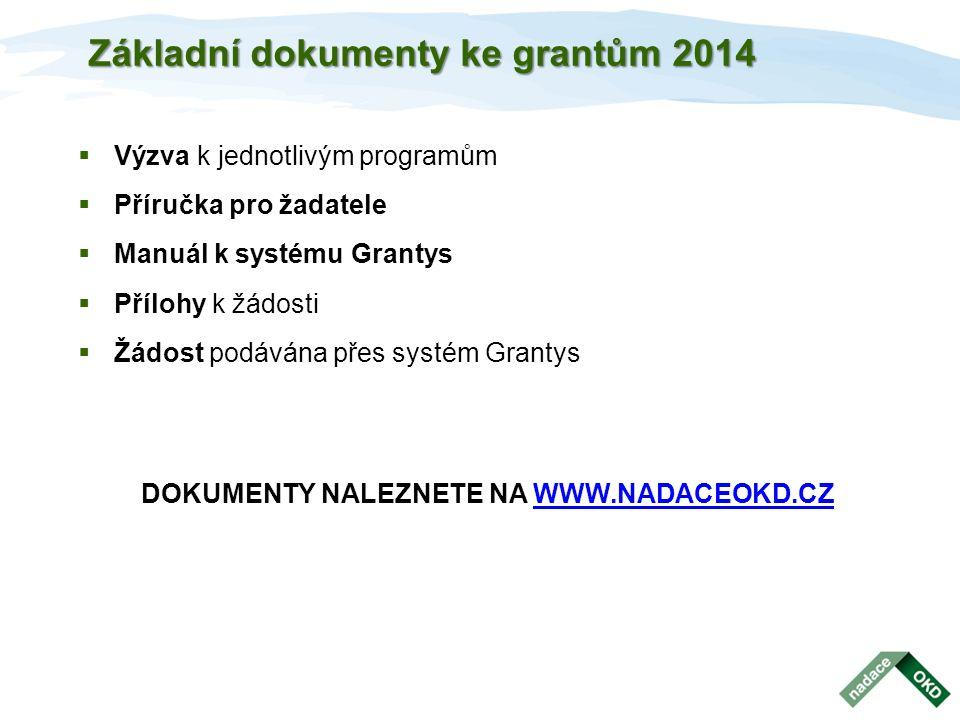 Základní dokumenty ke grantům 2014  Výzva k jednotlivým programům  Příručka pro žadatele  Manuál k systému Grantys  Přílohy k žádosti  Žádost pod