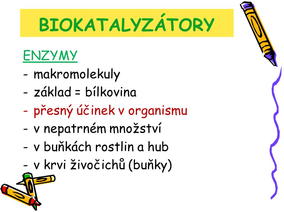 BIOKATALYZÁTORY ENZYMY -makromolekuly -základ = bílkovina -přesný účinek v organismu -v nepatrném množství -v buňkách rostlin a hub -v krvi živočichů (buňky)