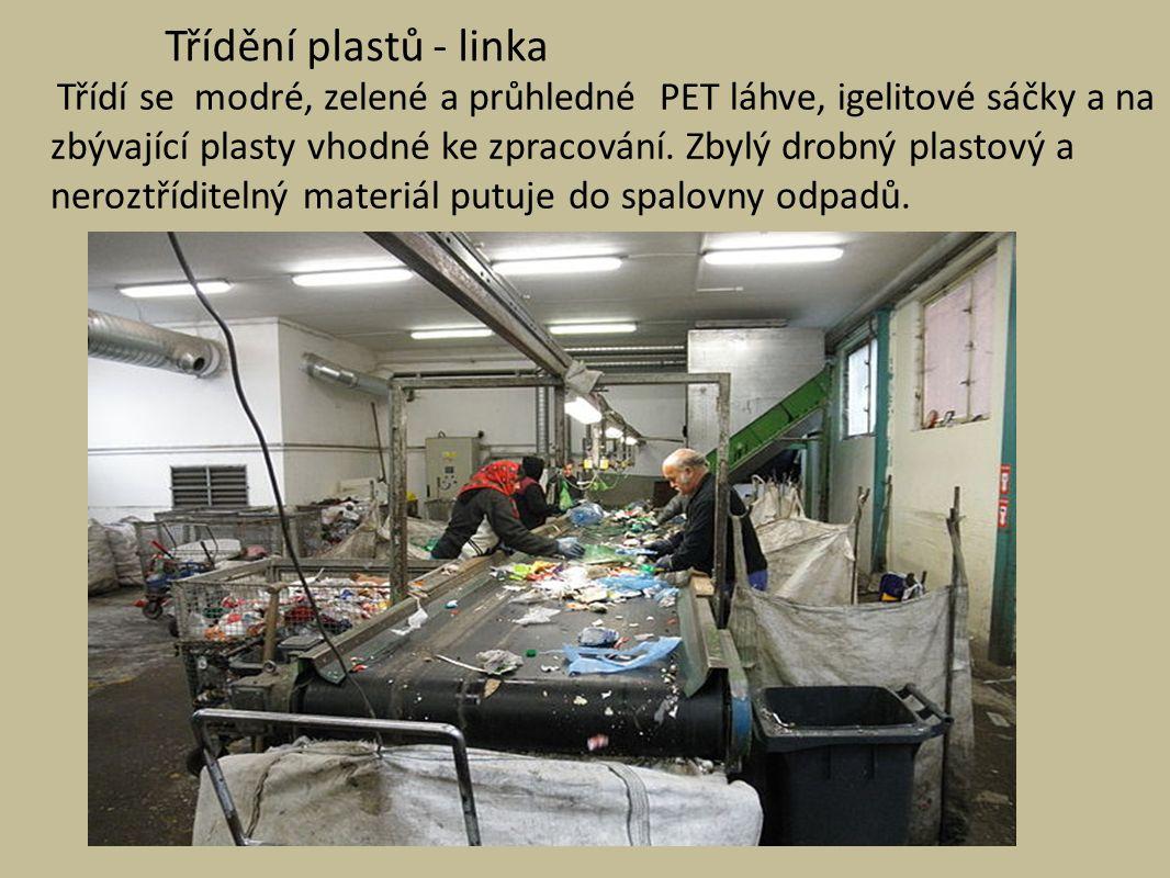 Třídění plastů - linka Třídí se modré, zelené a průhledné PET láhve, igelitové sáčky a na zbývající plasty vhodné ke zpracování.