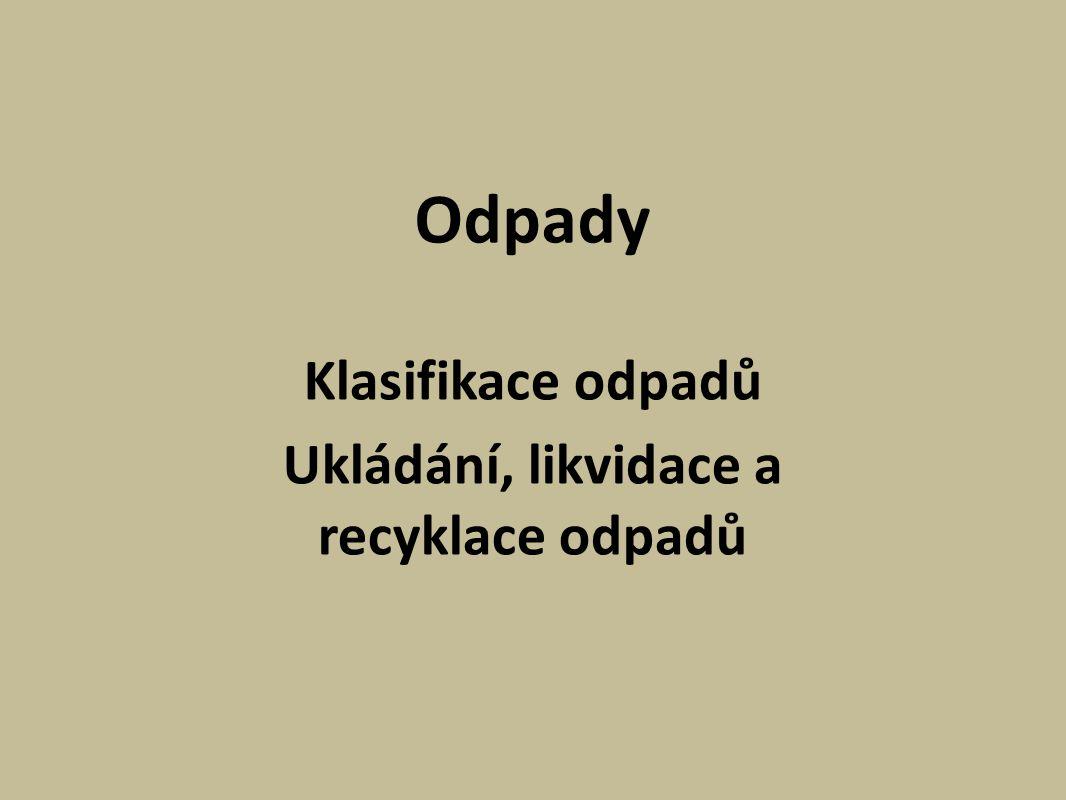 Odpady Klasifikace odpadů Ukládání, likvidace a recyklace odpadů