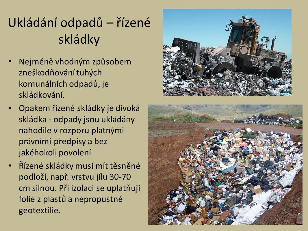 Ukládání odpadů – řízené skládky Nejméně vhodným způsobem zneškodňování tuhých komunálních odpadů, je skládkování.