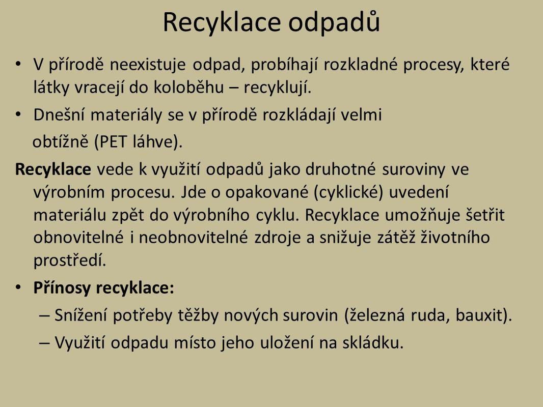 Recyklace odpadů V přírodě neexistuje odpad, probíhají rozkladné procesy, které látky vracejí do koloběhu – recyklují.