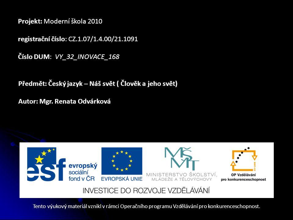 Projekt: Moderní škola 2010 registrační číslo: CZ.1.07/1.4.00/21.1091 Číslo DUM: VY_32_INOVACE_168 Předmět: Český jazyk – Náš svět ( Člověk a jeho svě