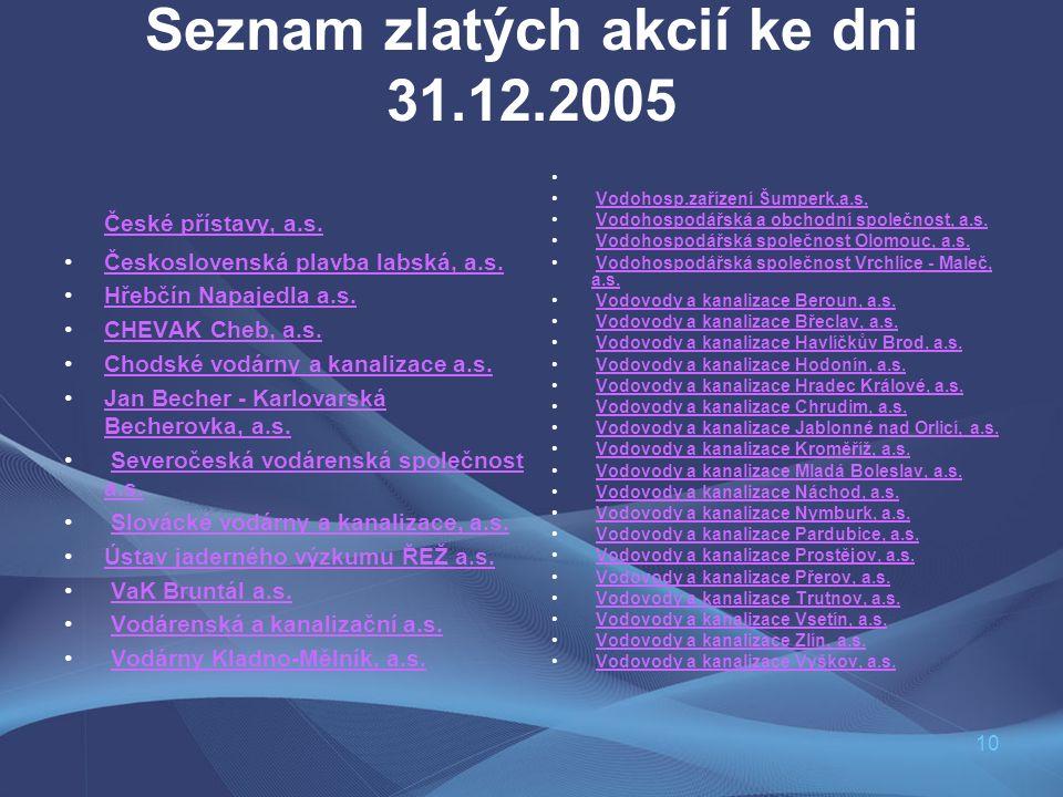 10 Seznam zlatých akcií ke dni 31.12.2005 České přístavy, a.s. Československá plavba labská, a.s. Hřebčín Napajedla a.s. CHEVAK Cheb, a.s. Chodské vod